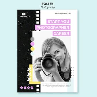 Plantilla de póster de fotografía creativa con foto