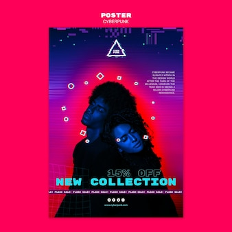Plantilla de póster futurista cyberpunk