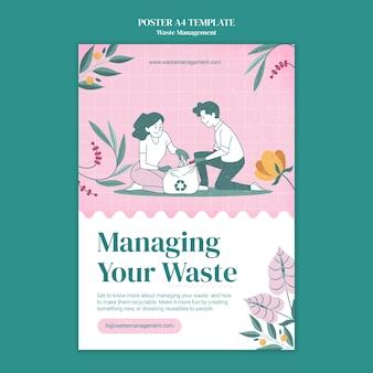 Plantilla de póster de gestión de residuos