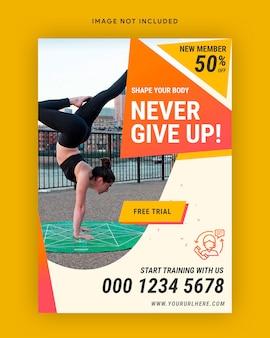 Plantilla de póster de gimnasio de fitness