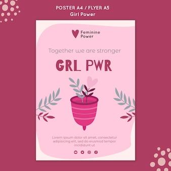Plantilla de póster de girl power con ilustraciones