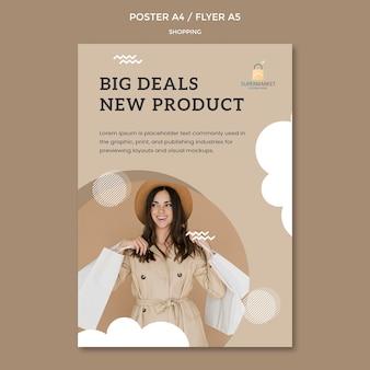 Plantilla de póster de grandes ofertas de compras