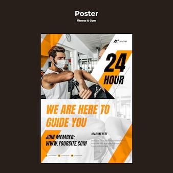 Plantilla de póster para hacer ejercicio en el gimnasio durante la pandemia.