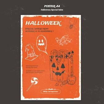 Plantilla de póster para halloweek