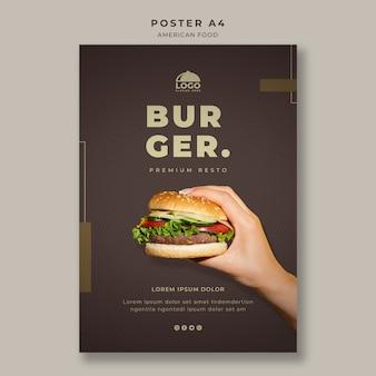Plantilla de póster de hamburguesa