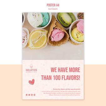 Plantilla de póster de helado