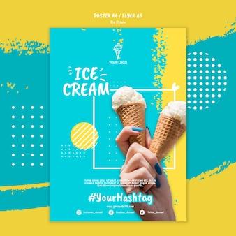 Plantilla de póster con helado