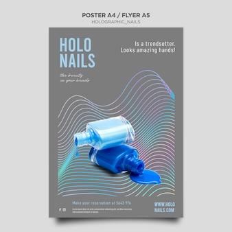 Plantilla de póster de uñas holográficas