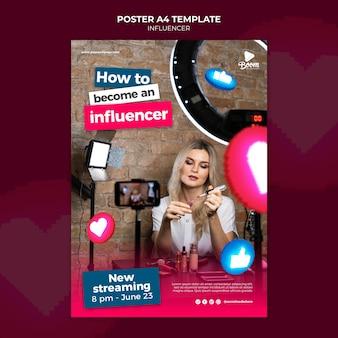 Plantilla de póster de influencers con foto