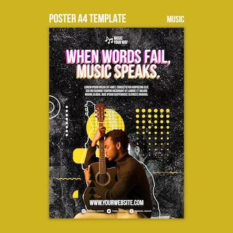Plantilla de póster de interpretación musical