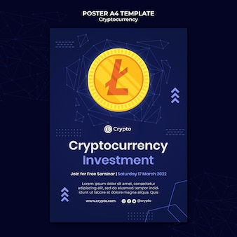 Plantilla de póster de inversión en criptomonedas