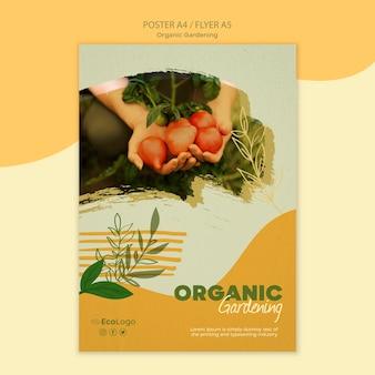 Plantilla de póster de jardinería orgánica con foto