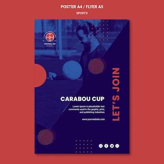 Plantilla de póster de jugador de fútbol con foto