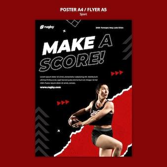 Plantilla de póster de jugador de rugby
