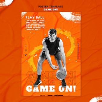 Plantilla de póster para jugar baloncesto