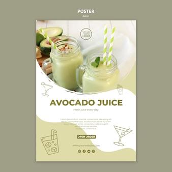 Plantilla de póster de jugo de aguacate con imagen