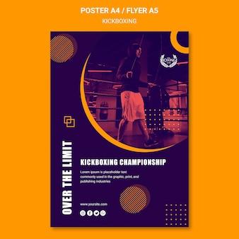 Plantilla de póster de kickboxing por encima del límite