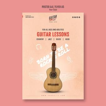Plantilla de póster de lecciones de guitarra