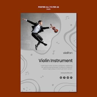 Plantilla de póster de lecciones de instrumentos de violín