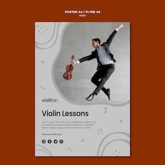 Plantilla de póster de lecciones de música para violín