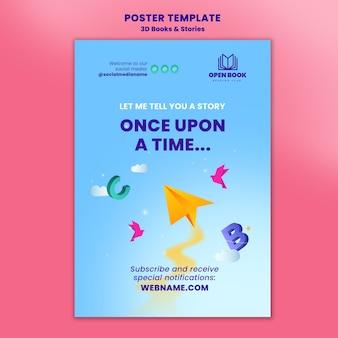 Plantilla de póster para libros con historias y letras.
