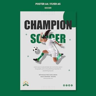 Plantilla de póster para la liga de fútbol femenino.
