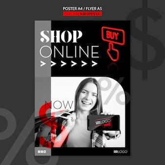 Plantilla de póster en línea de tienda de moda