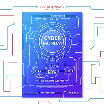 Plantilla de póster del lunes cibernético con elemento de circuito