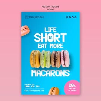Plantilla de póster de macarons
