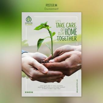 Plantilla de póster con manos sosteniendo planta juntos