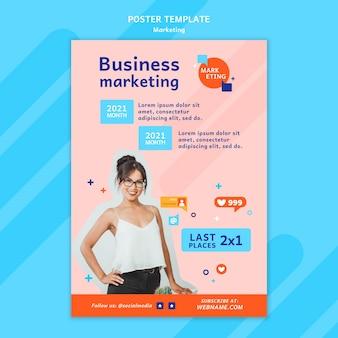 Plantilla de póster de marketing con foto