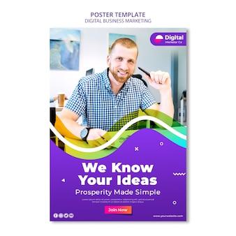 Plantilla de póster de marketing de negocios digitales