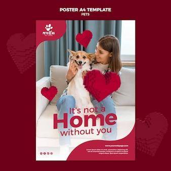 Plantilla de póster de mascotas con foto