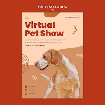 Plantilla de póster para mascotas con lindo perro.