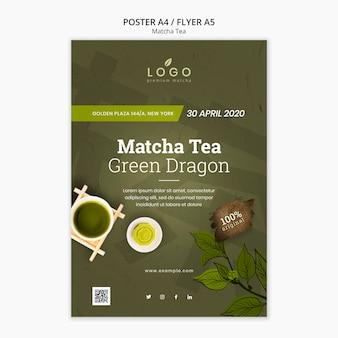 Plantilla de póster matcha tea a4