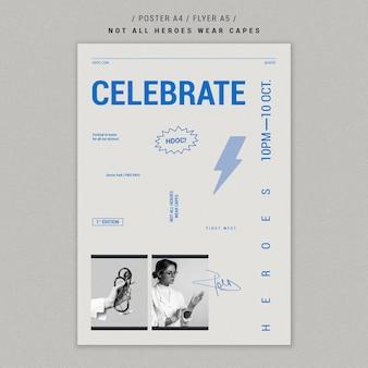 Plantilla de póster de médicos celebrando