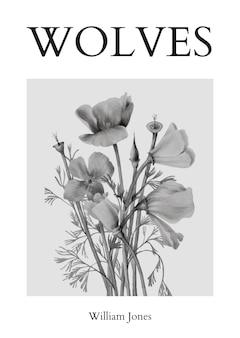 Plantilla de póster mínimo psd con flores en blanco y negro