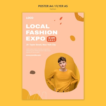 Plantilla de póster de moda masculina de la expo de ropa local