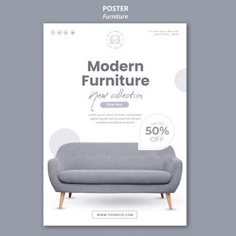 Plantilla de póster de muebles