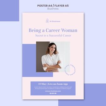 Plantilla de póster para mujeres en los negocios.