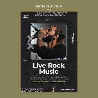 Plantilla de póster de música rock en vivo