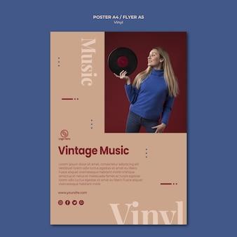 Plantilla de póster de música vintage de vinilo