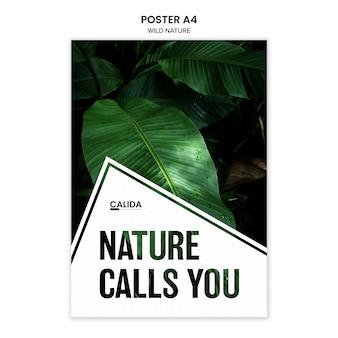 Plantilla de póster de naturaleza salvaje a4