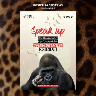 Plantilla de póster de naturaleza salvaje con foto de gorila