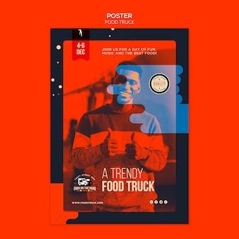 Plantilla de póster para el negocio de camiones de comida