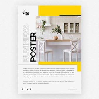 Plantilla de póster de negocios con decoración del hogar de cocina