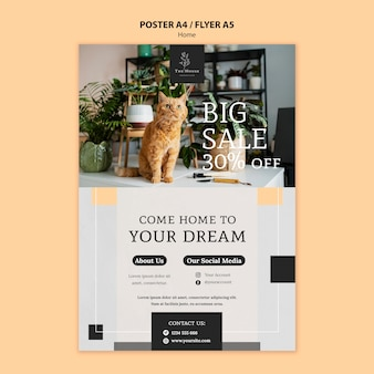Plantilla de póster para la nueva casa de sus sueños
