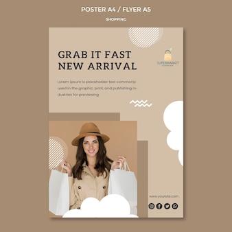 Plantilla de póster de nueva llegada de compras