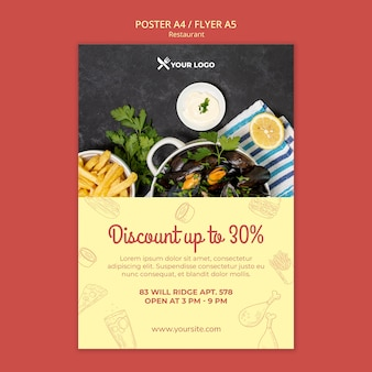 Plantilla de póster de oferta de descuento de restaurante