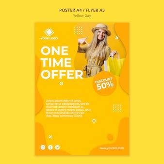 Plantilla de póster de oferta única de día amarillo